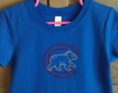 Chicago Cubs Cubby Bear Rhinestone Sparkle Short Sleeve Shirt