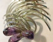 VINTAGE Silver Spiral PIN with Amethyst glass