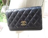 Chanel Vintage Black Quilted Handbag.