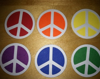 Rainbow peace signs, paper die cuts, 6 embellishments