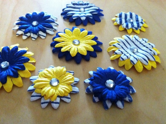 8 paper flower embellishments  (yellow blue and white)