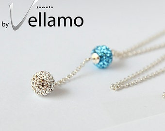 Sterling silver necklace with Swarovski crystal balls, crystal clear and blue, glam, sparkle, rhinestone, dainty Y necklace