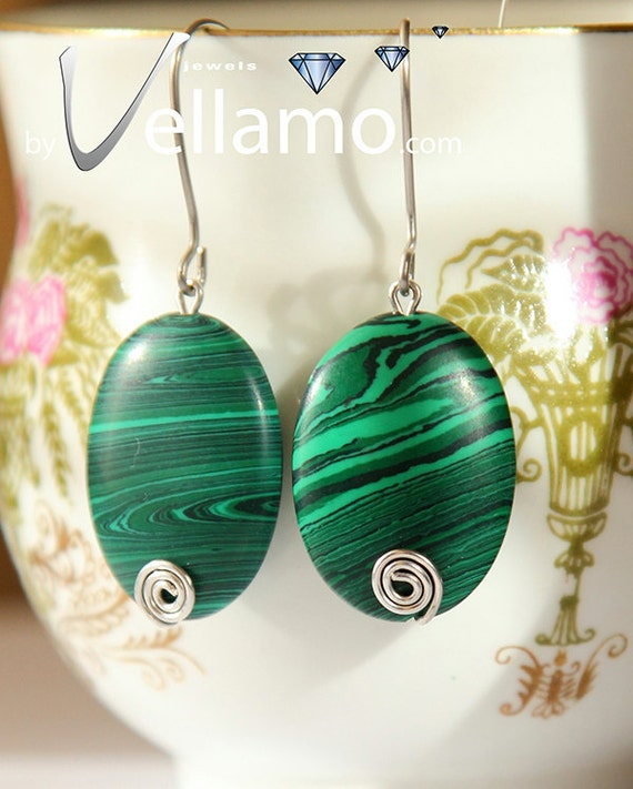 Ear-rings with green malachite gemstones, sterling silver wire spirals