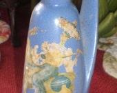 Antique Vintage Ceramic Country Blue Bottle Mexico Souvenir Mid Century Hispanic Man on Burro Guitar