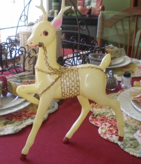 Antique Vintage Mid Century Plastic Reindeer Sleigh Rudolph Christmas Santa Claus Holidays