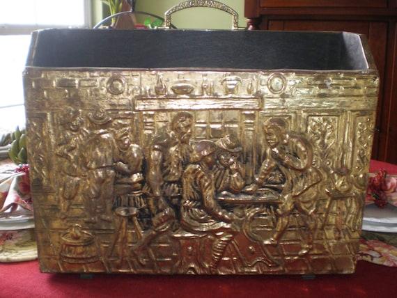 Antique Vintage Mid Century Repousse Brass Covered Wood Magazine Holder Box Renaissance Scene
