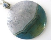 Druzy Sea Visualization Stone, Blue Onyx Agate Druzy Geode Pendant Necklace - FREE Shipping