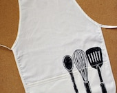 Adult Cotton Apron with Utensil Block Print