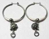 Steampunk Jewelry, Alice in Wonderland Cheshire Cat Hoop Earrings, Alice in Wonderland Jewelry, Steampunk Earrings, Gear Jewelry, ooak