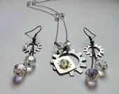 Steampunk Wedding Jewelry Set Victorian Jewelry Gear Earrings Steampunk necklace Wedding Jewelry Wedding Necklace Gear Jewlery Steam Punk