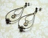 Steampunk Jewelry - Steampunk Earrings - Teardrop hoop Earrings - Gear Earrings - Upcycled Jewelry