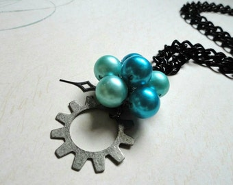 Steampunk Jewelry, Gear Jewelry, Teal Beaded Pendant with Gear, Clock Hand Necklace, Steampunk Necklace, Victorian Jewelry, Steampunk OOAK