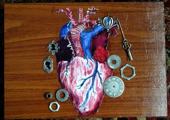 Steampunk Box - Anatomical Heart Box - Steampunk Clichés of Love - Upcycled Box - Steampunk Jewelry Box