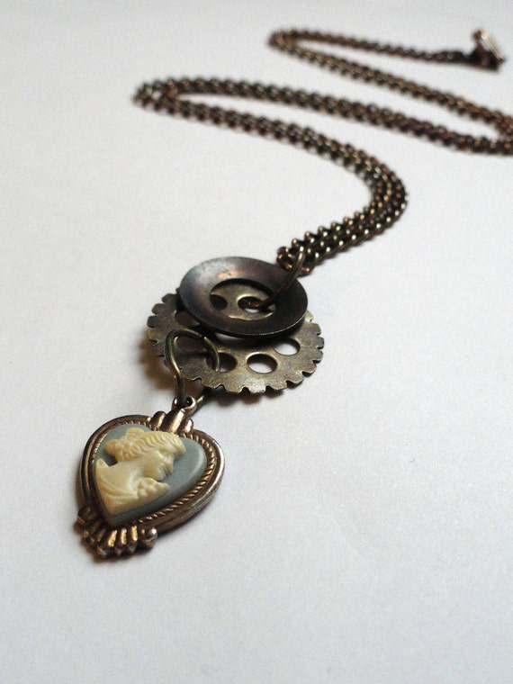 Cameo Jewelry - Steampunk Necklace Jewelry - Gear Necklace - Vintage Upcycled - Cameo Pendant -