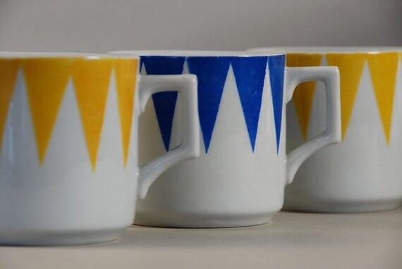 Vintage Mod Geometric Mugs From Japan