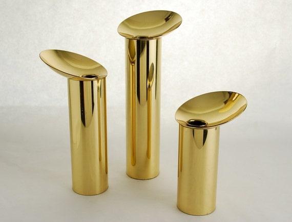 Danish Modernist Brass Candleholders, Set of 3