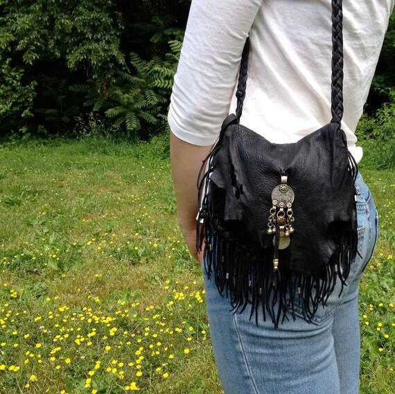 Black Deerskin Fringed Leather Purse