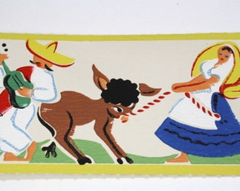 Full Vintage Wallpaper Border-TRIMZ- Mexican, Spanish, Latino Pattern with Mariachi Band and Donkey