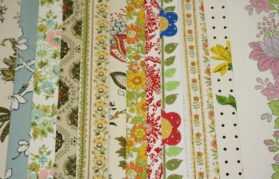 Vintage Wallpaper Sample Collage Pack (12 Sheets, 8 1/2 in. x 10 1/2 in.)