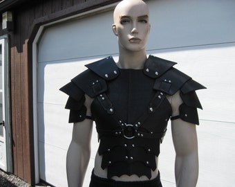 Leather Armor Gothic chest back & shoulder harness