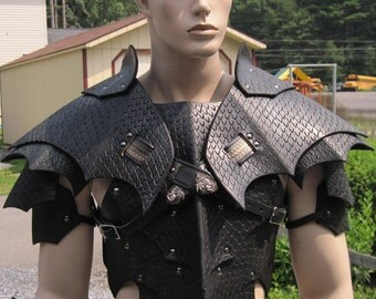 Leather Armor Gothic Dragon Scale chest back & shoulders