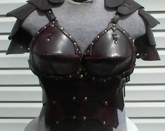 Leather Armor Ladies Gothic Chest Back & Shoulders