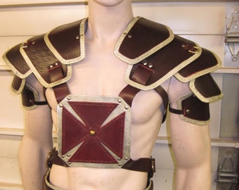 Leather Armor He-Man Harness with Shoulders and Sword Holder armor