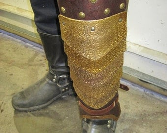Leather Armor Plated Greaves -Pair