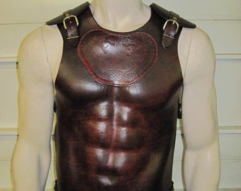 Molded leather armor chest back & shoulders with your graphic
