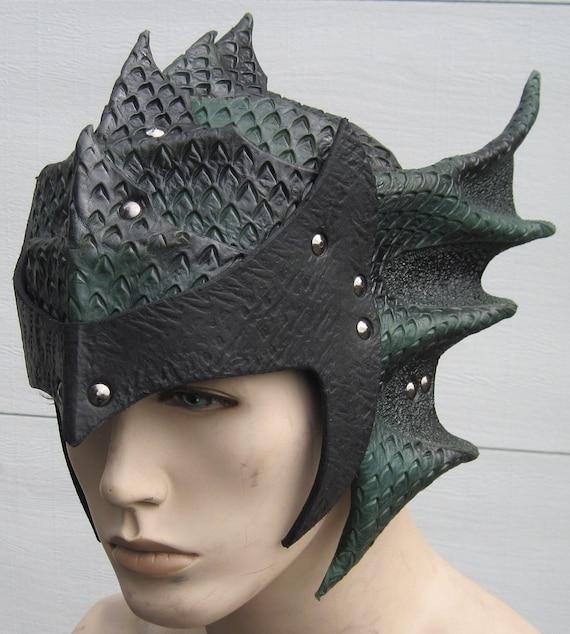 Leather Armor Gothic Dragon Scale helmet