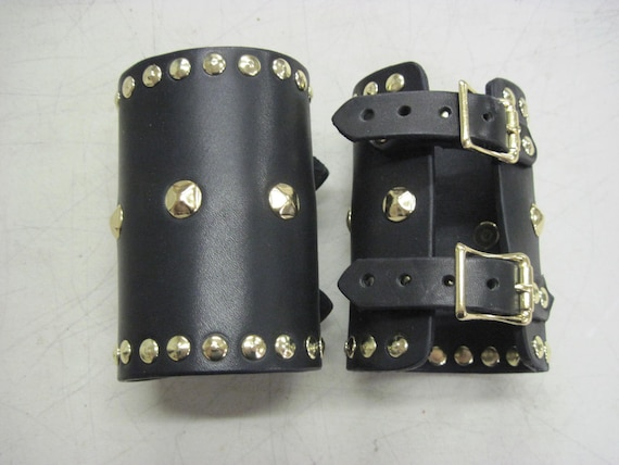 Leather Armor Studded Bracers Cuffs