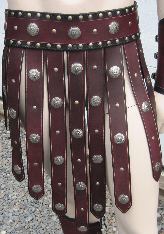 leather armor gladiator war skirt