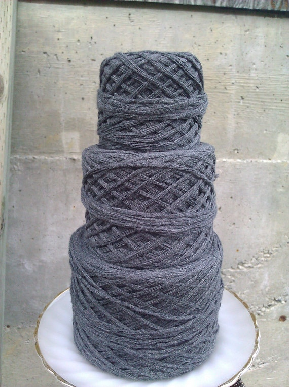 Charcoal Grey Reclaimed Super-Bulky Cotton Yarn - 267 yards