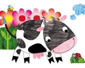 Nursery wall art, nursery decor, baby nursery print, kids art, kids room decor,farm animal, Baby Cow print - 8x10 Nursery Print