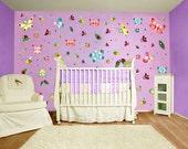 Wall decals stickers, baby nursery wall, kids wall stickers, baby room decor, baby art, baby nursery room, girls room, HUGE BUG ART