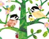 Art for Children, Kids Wall Art, Baby Girl Decor, nursery bird print, bird nursery, bird nursery decor, baby girl print, 8x10  Nursery Print