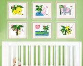Nursery Art Jungle animal Prints for baby  animal safari jungle nursery art wall  jungle baby prints SET OF 6 PRINTS  8x10 Jungle prints