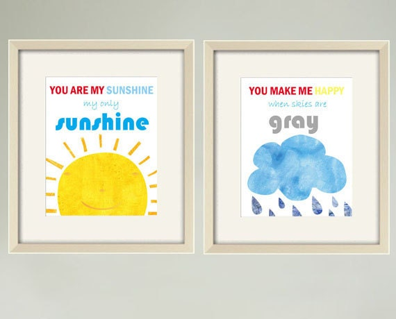 You Are My Sunshine print, Childrens Art Print Poster,Children Wall Art, baby nursery decor,Nursery Art Print, Quote print ,Set of 2 8 x10