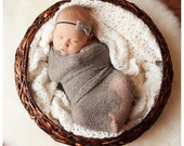 Newborn Stretch Knit Wrap with Matching Wool Felt Bow Set - Baby Photography Prop