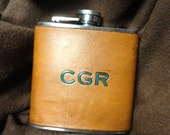 5 Custom Leather Covered Flask SET. Great Gift Item. You Can Pick Initials. Groomsman Gift