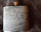 High Quality Custom Leather Covered Flask. Black Smoke. You Can Pick Initials. Gray with White Letters.. No cheap materials