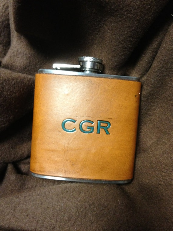 Leather Covered Flask Custom High Quality. Great Gift Item. You Can Pick Initials. Groomsmen Gift No CHEAP materials
