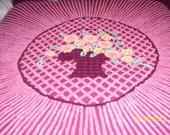 Chenille Bedspread  Deep Wine with Flower  Basket