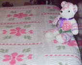 Vintage Chenille Bedspread in Bright Pinks Greens and White