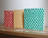 SET OF 3 Hand Screenprinted Greetings Card - 'Mountains' Pattern