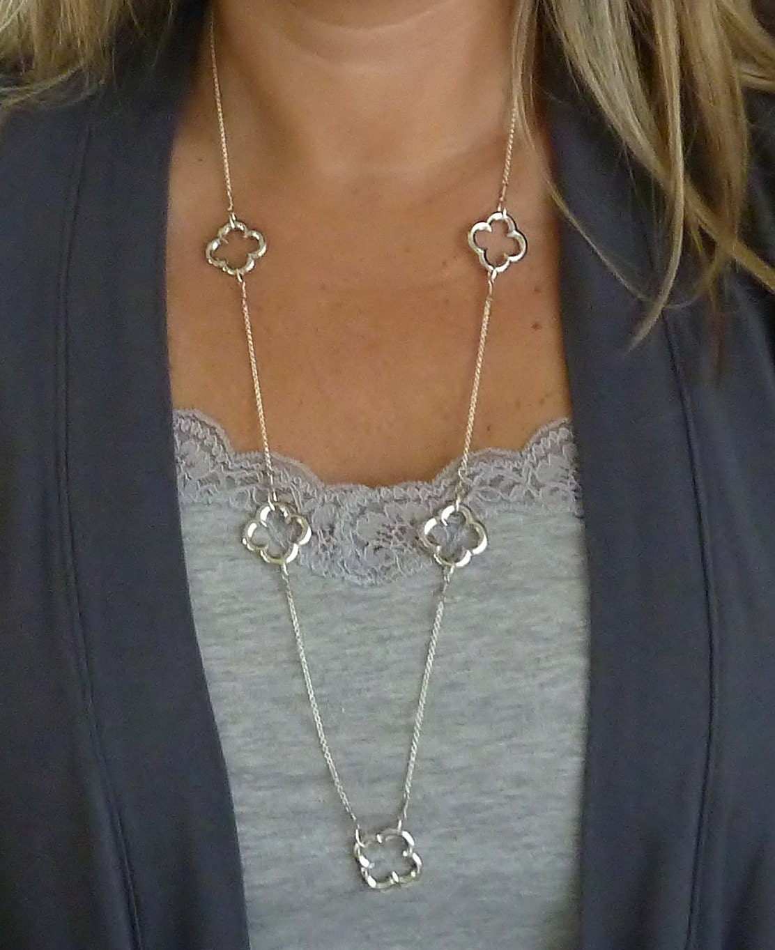 Clover Necklace Van Cleef: Van Cleef & Arpels Inspired Silver Clover Necklace FREE