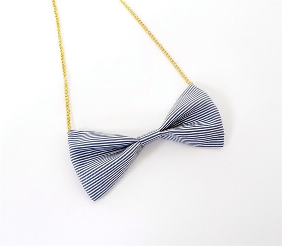 Bowtie necklace -Pin stripe-