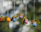 Felted Wool Acorn Necklace - made to order