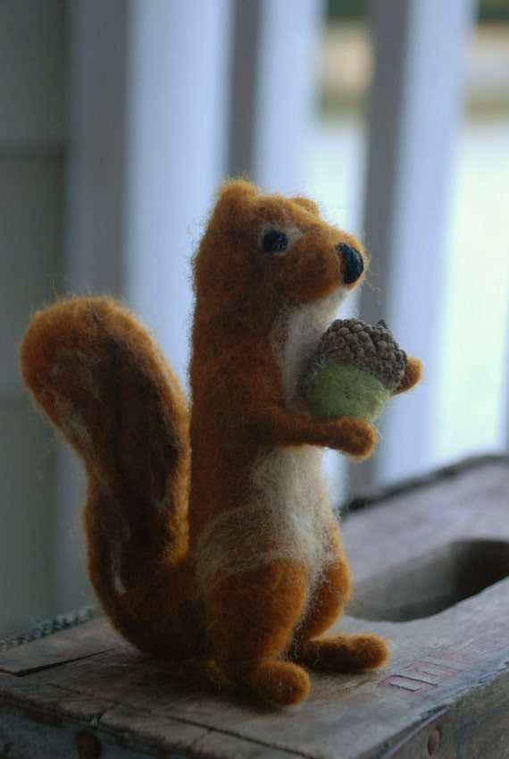 Little Squirrel with Acorn - Felted Wool Creature