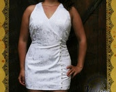 Vintage white dress with lace and bow 1980s Jessica McClintock
